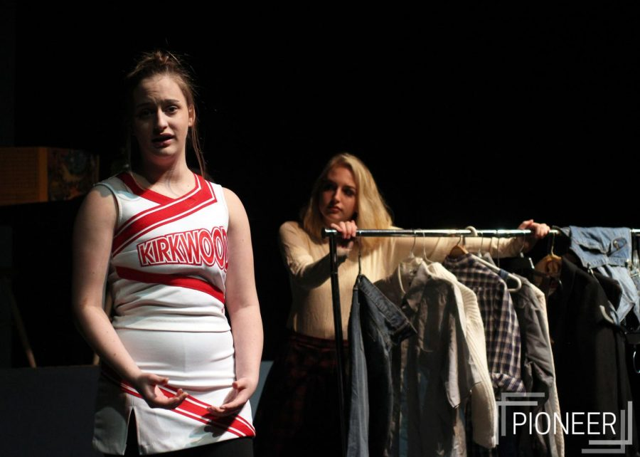 "Practicing her lines Olivia Button, sophomore, rehearses for ""She Kills Monsters"" Jan. 14."