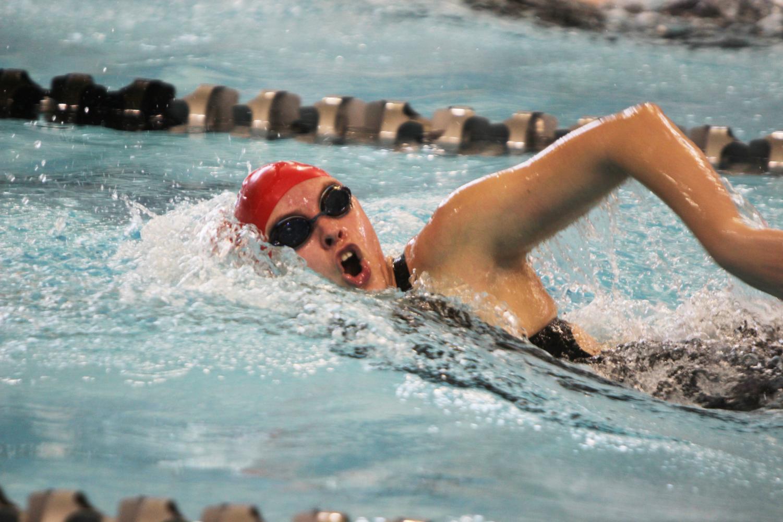 Competing+at+the+state+swim+meet%2C+Bella+Borbonus%2C+senior%2C+swims+freestyle+Feb.+14.%0A