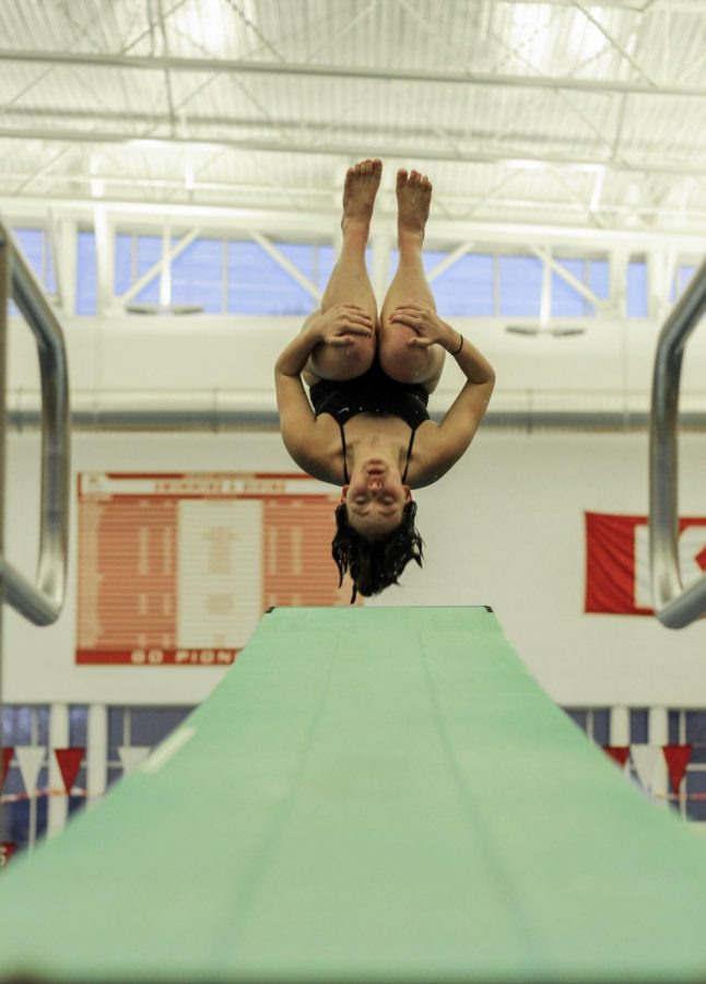 Doing a back tuck, Audrey Berns, senior, dives at senior night Jan. 24.