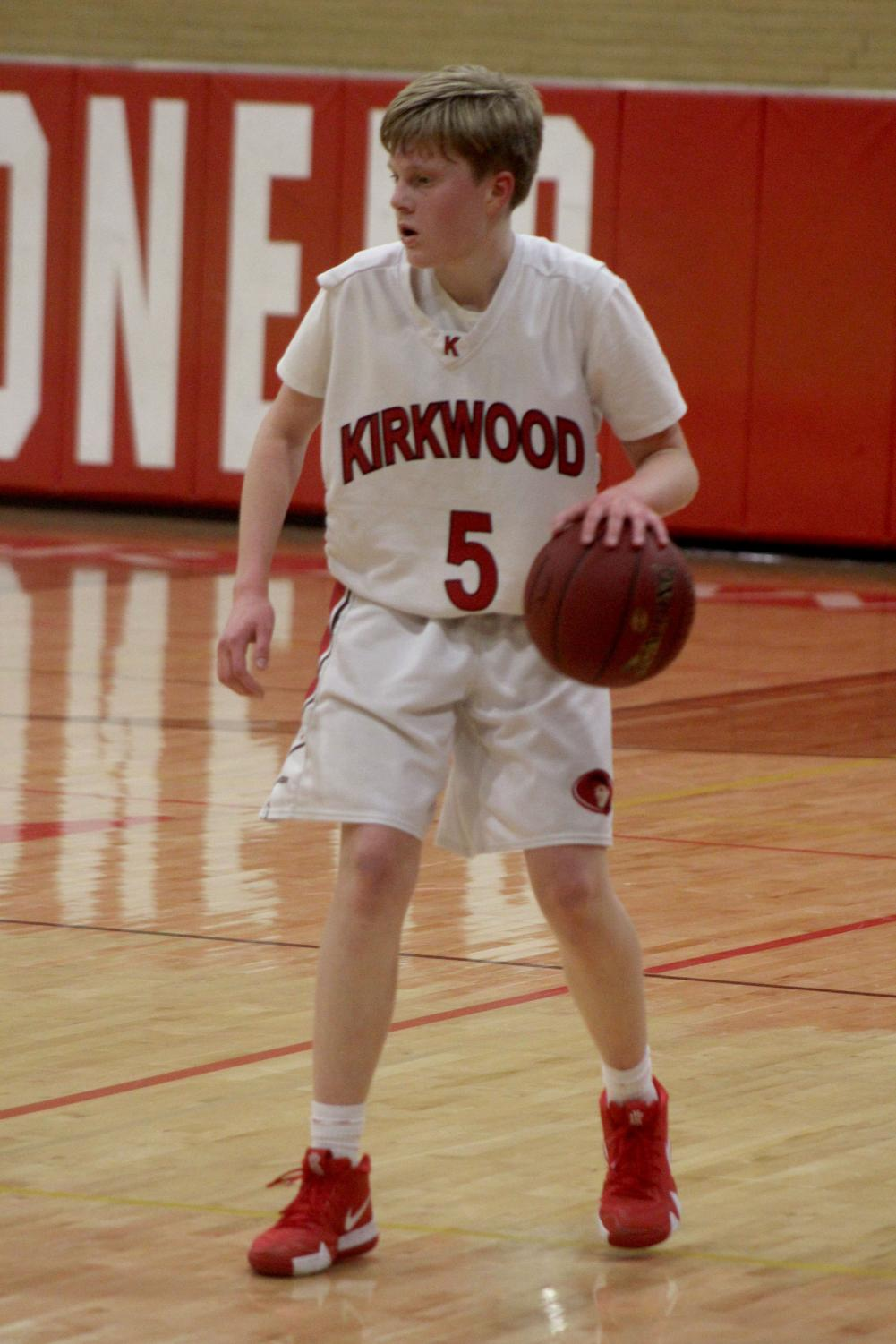 Josh+Bruns%2C+freshman%2C+waits+for+a+screen+from+a+teammate+Jan.+14+during+a+home+game+where+Kirkwood+won+49-32.
