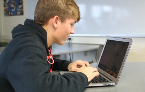 Gavin Wootten, sophomore, works on his coding assignment, Jan. 16.