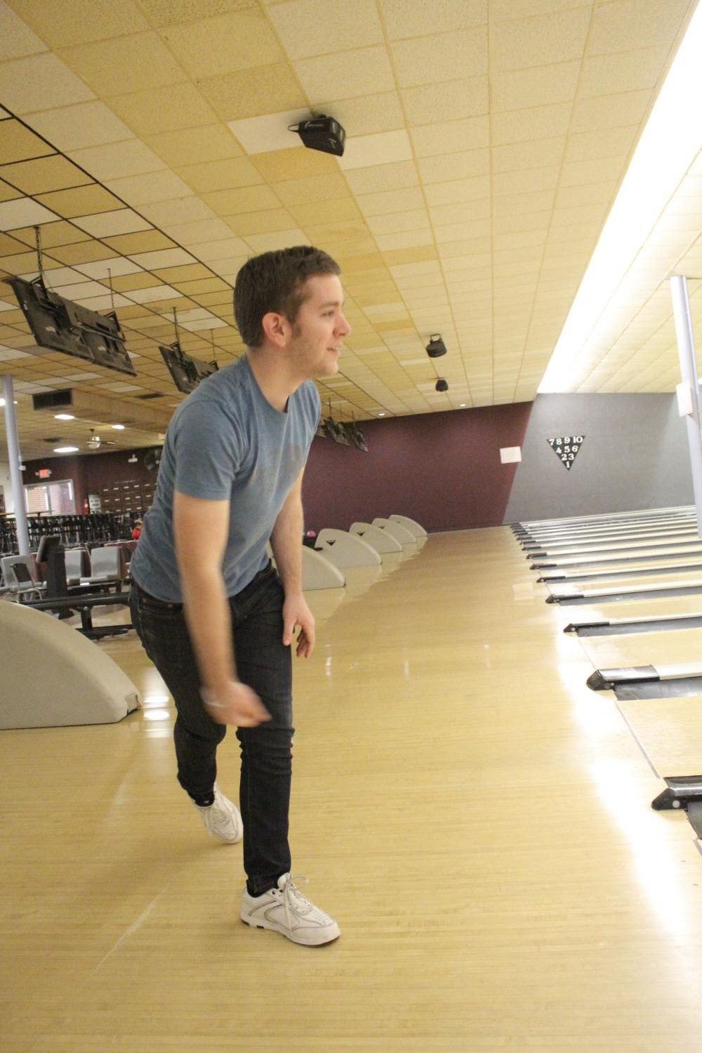 During+bowling+practice%2C+Jason+Hoffarth%2C+junior%2C+holds+his+pose+after+bowling+Feb.+19.