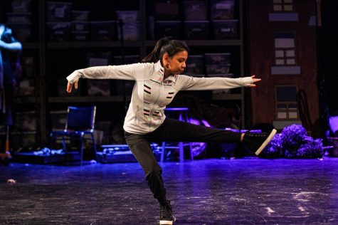 During her contemporary dance, Lily Deck, a freshman, turns out of a spin on the Keating stage, Nov.5.