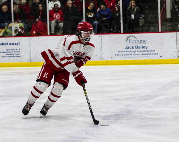 During warm ups at the Kirkwood Ice Rink, Riley Leuktemeyer, junior, skates towards the goal to get ready for their inevitable defeat against Vianney High School, Nov. 16.