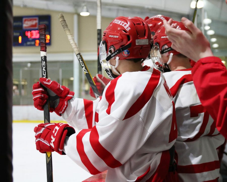After scoring a goal, players on the  JV hockey team, bang their sticks against their bench during the game against Oakville High School Jan. 7.